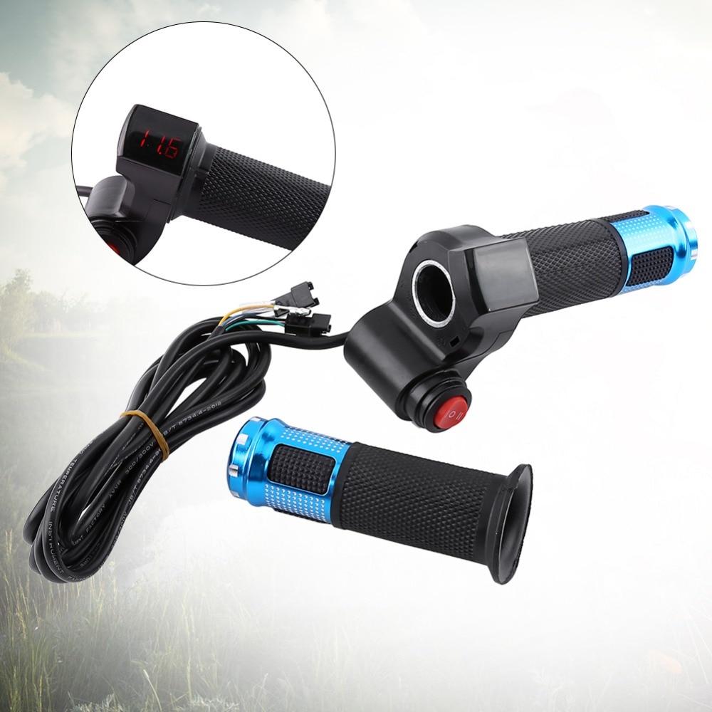Prix pour 1 Set électrique scooter throttle twist Accélérateur avec Led affichage numérique électrique vélo tricycle guidon grip 7 Fils