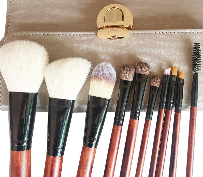 10pcs Goat Hair Makeup Brushes Set Foundation Powder Bulsh Eyeshadow Eyeliner Lip Make Up Brush Cosmetic Tools With Case Holder