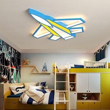 Oczu dla dzieci pokój lampa led minimalistyczny nowoczesny kreatywny cartoon chłopiec pokój sypialnia lampy sufitowe pilot zdalnego sterowania samolotu