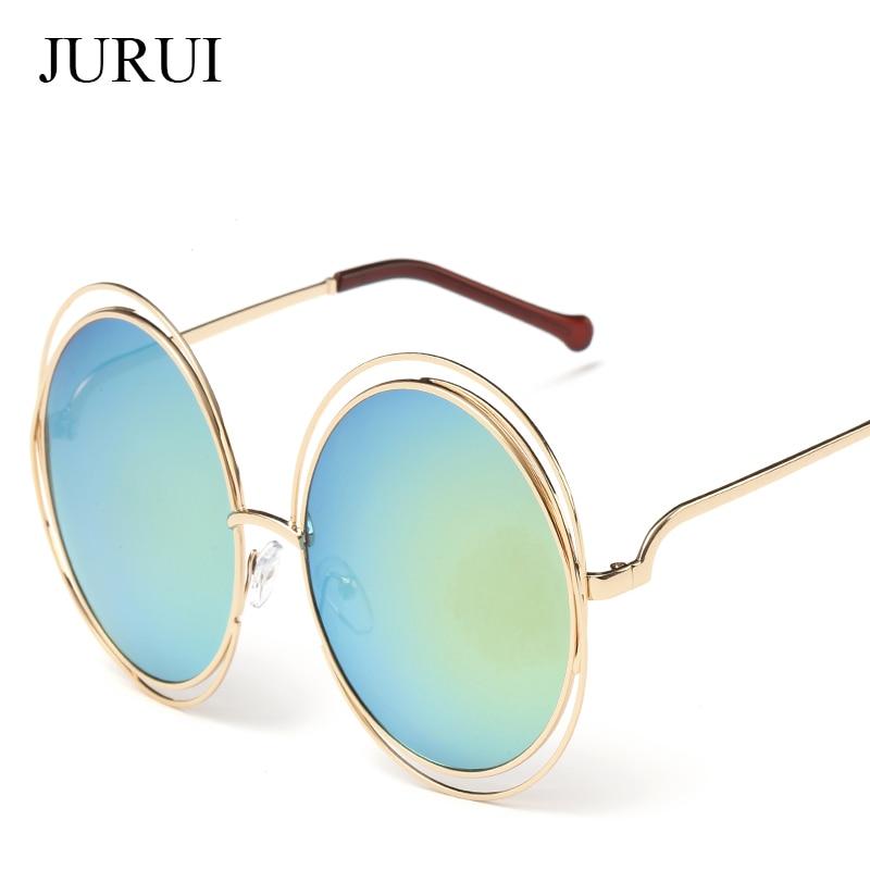 JURUI Vintage gafas de Sol Redondas Mujeres Lente Espejo Gafas de Sol - Accesorios para la ropa