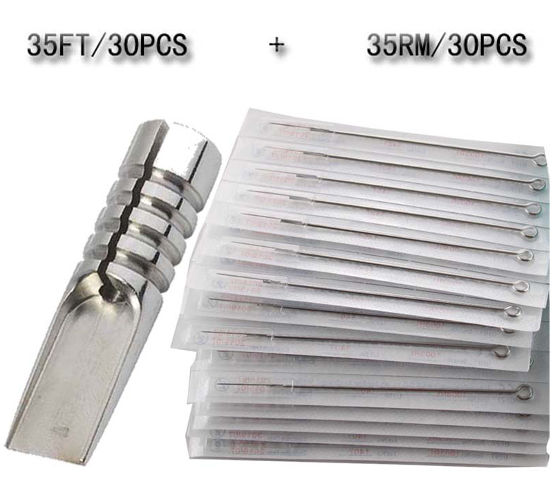 35RM 35FT 30 PCS Disposable Sterile Tattoo Needle 1 pcs Magnum Steel Stain Tattoo tip
