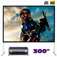 Super Large Size Fast Fold Projector Screen 300 Inches Quick Folding Projection Screens With Frame 4