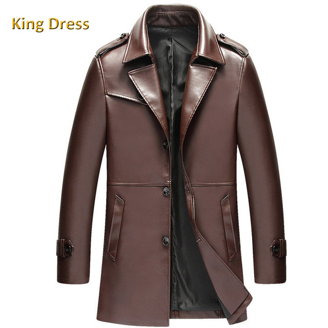 Mens Brown Jackets Long Coats High Quality Winter Dress Business Windbreak Lapel Trench Pu Wind Coat Men Leather Jacket