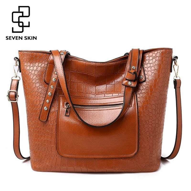 d043cf1f58 SEVEN SKIN Luxury Designer Women Messenger Bags High Quality Leather  Shoulder Bag for Female Large Capacity