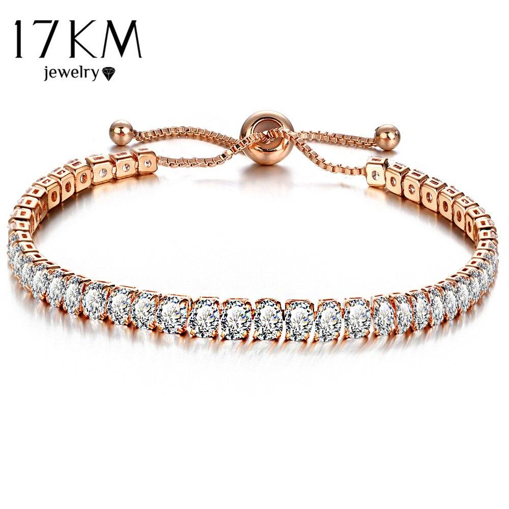 Tennis Charm Bracelet: 17KM Fashion Cubic Zirconia Tennis Bracelet & Bangle