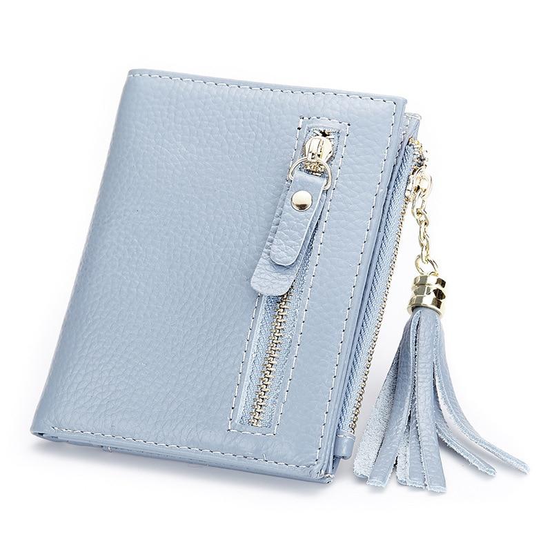 100% Genuine Leather New 2017 Fashion Elegant Women Purse Women Wallet Fashion Short Ladies Tassel Wallets Female Card Holder