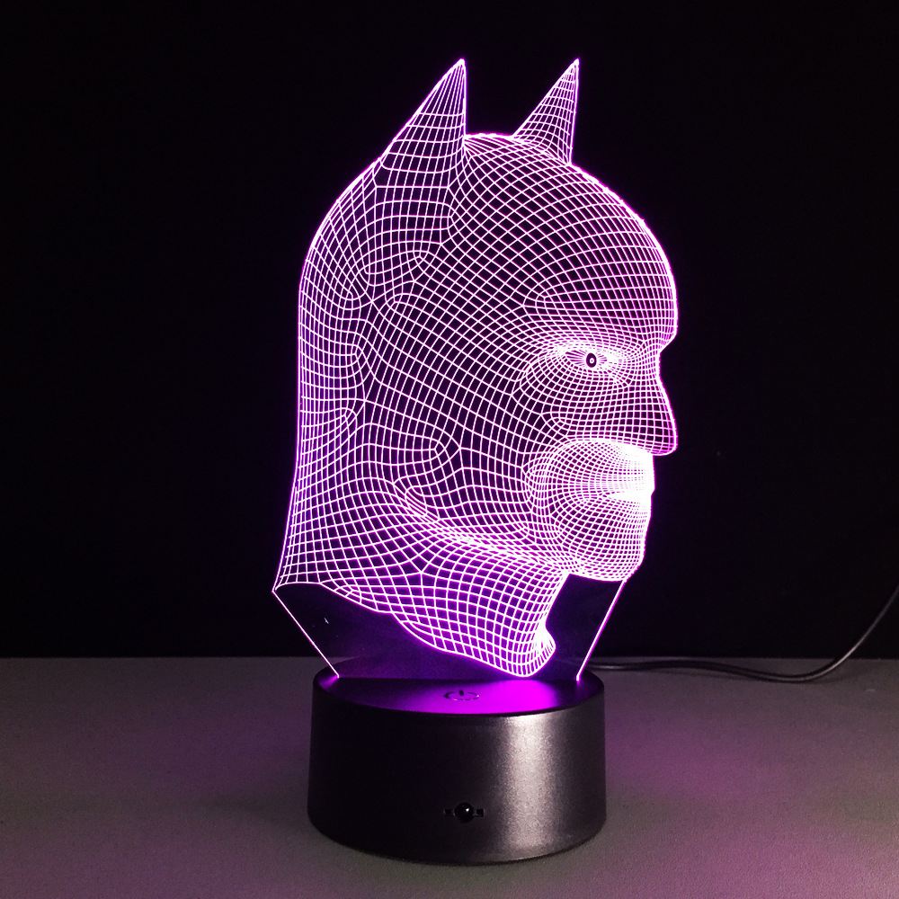 7 color changing 3D Illusion led Table Lamp LED Night Light with double face shape with