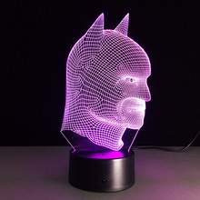 7 color changing 3D Illusion led Table Lamp LED Night Light with double face shape with batman shape table light lamp IY803378
