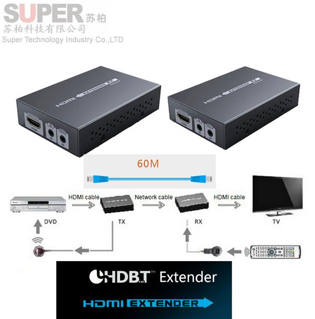 HDMI sobre extensor HDBaset LKV375 até 70 M, HDBaset HDMI Extender w/IR sobre único cabo UTP, adaptador suporte 3D 4 k * 2 k 3D completo