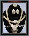 Высокое качество мода 24 К позолоченные элегантное свадебное платье невесты комплект роскошные украшения ожерелье серьги браслет кольцо