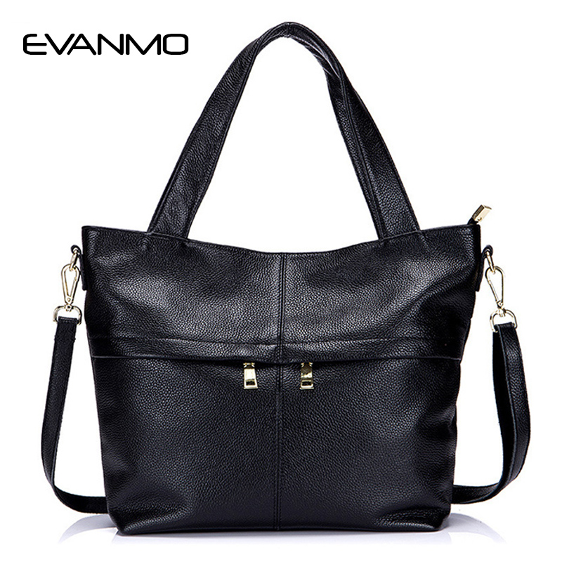 купить Tote Bags Female Handbags First Layer of Leather Europe and America Simple Style 2017 Autumn&winter Shoulder Bag Big Leather Bag недорого