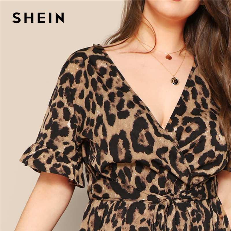 Image 5 - SHEIN Women Plus Size Flounce Sleeve Tie Waist Surplice Wrap 