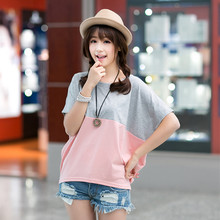 Summer new Korean women T-shirt Size loose two color mosaic short sleeved t-shirt female Bat Sleeve Jacket
