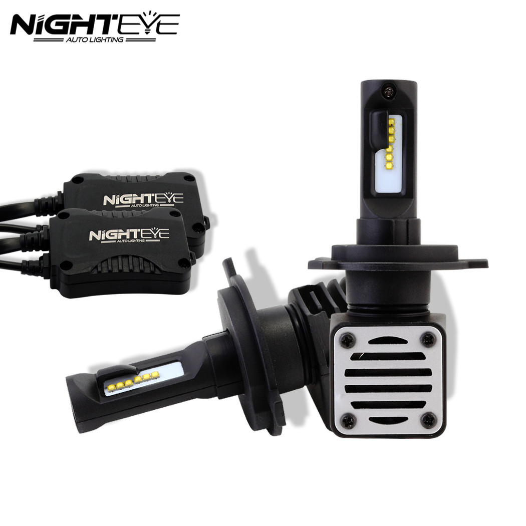 Nighteye H4/HB2/9003 Auto Car Led Headlights Hi/lo Beam Driving Fog Light Lamps Bulbs 80W 12000LM White 6500K D40 1pair car led headlight h4 hi lo beam 72w fog driving lamp led headlights car 9003 hb2 high low beam bulb auto led headlamps