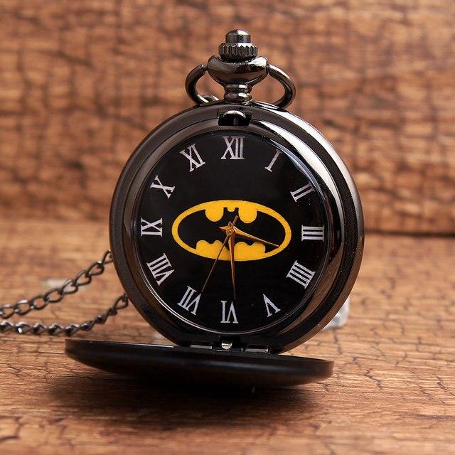 2017 New Arrival Gorben Watch Black Batmen Smooth Dial Roman Numerals Quartz Pocket Watch Fashion Design Men Women Watches P99