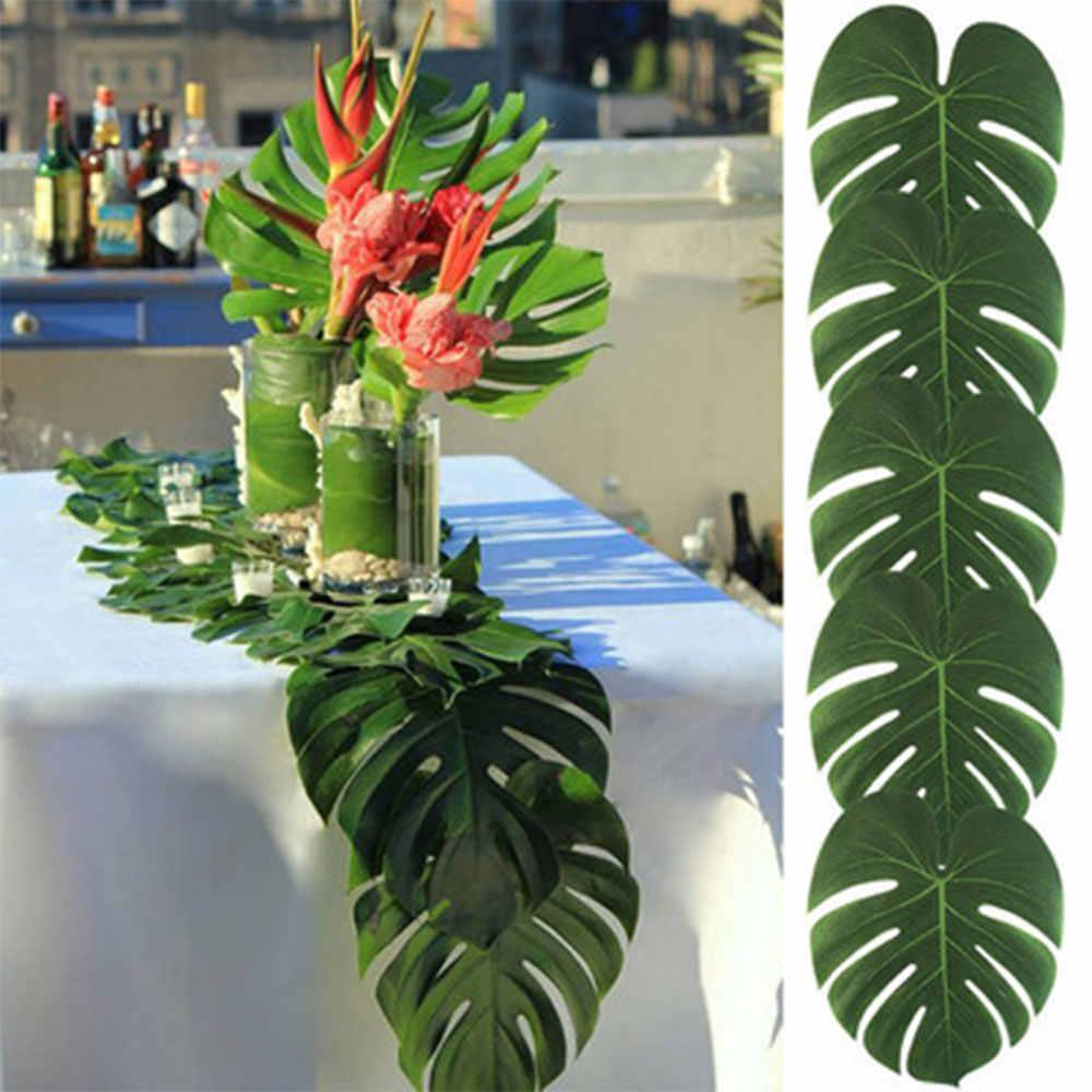 12 pçs/lote decoração de mesa folhas tropicais artificiais, simulação de folhas monstera havaiana luau festa selva praia temática