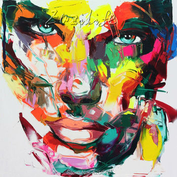 Palette knife painting portrait Palette knife Face Oil painting Impasto figure on canvas Hand painted Francoise Nielly 15-33