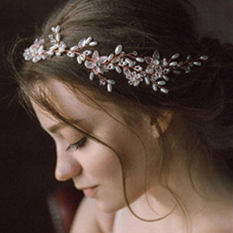 Handmade Gold Beaded Hair Vine Pearl Plant Head Piece Flower Wedding Headdress Bridal Headband For Bridesmaid Gift