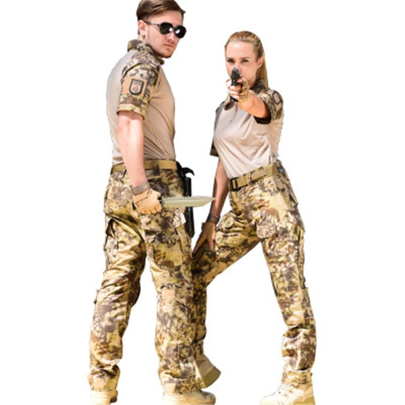 Ventilateurs militaires Python motif Camo Imprimer Ensembles courtes manches T-Shirts Pantalons Longs Russie Armée Hommes Tactique Vert Costumes de Plein Air