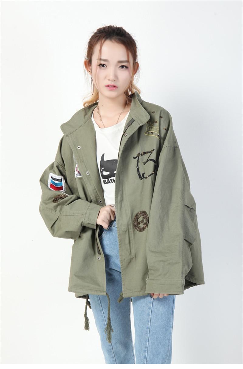 OLGITUM Coat streetwear bomber   jacket   women   basic   coat 2019 korean embroidery patches army green windbreaker boyfriend JK063