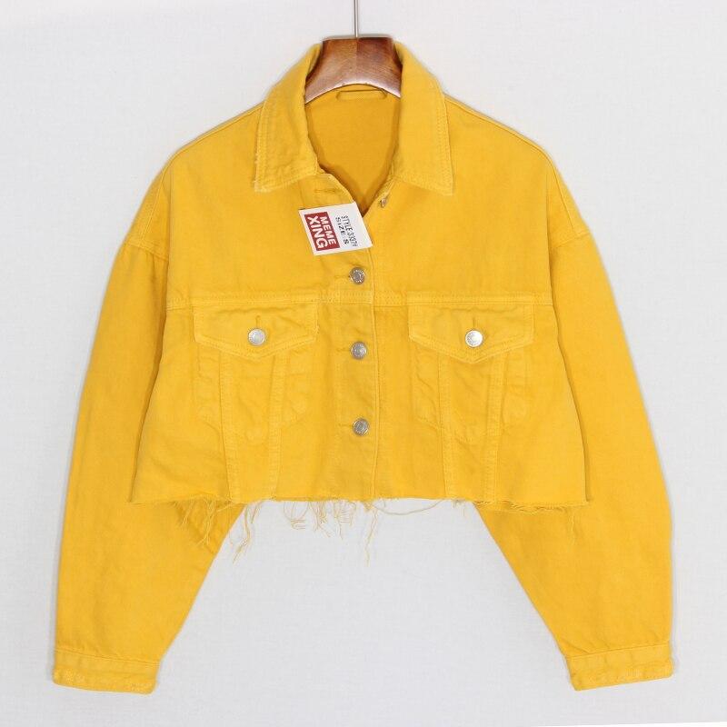 Femmes taille haute basique polyvalent mode jaune Denim veste femmes à manches longues Jeans veste courte manteau grande taille vêtements coupe large