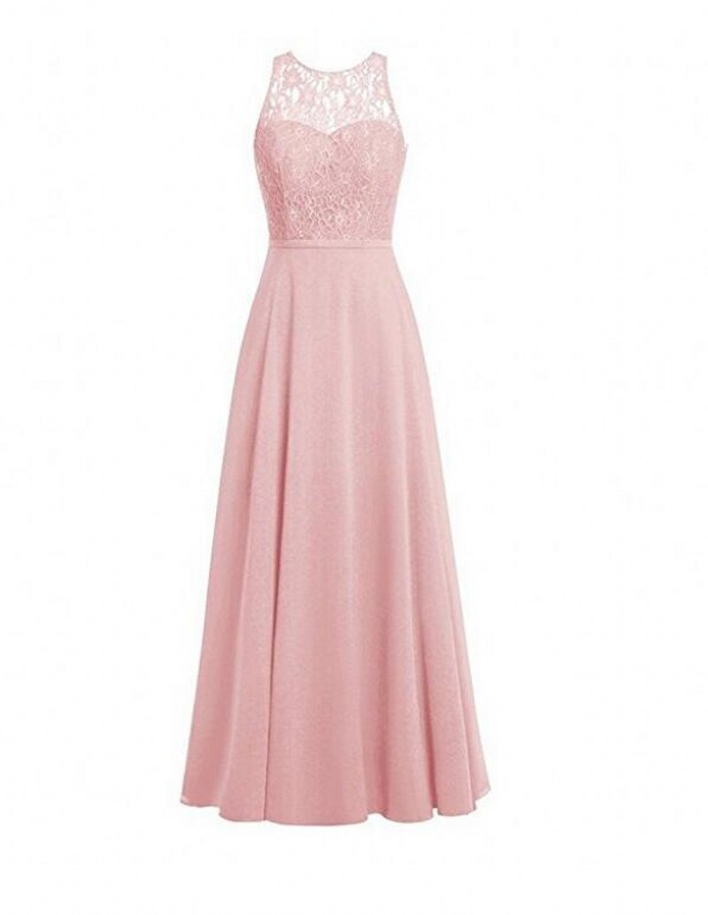Hot Sale Blush Pink Long Bridesmaid Dresses Lace Bodice ...