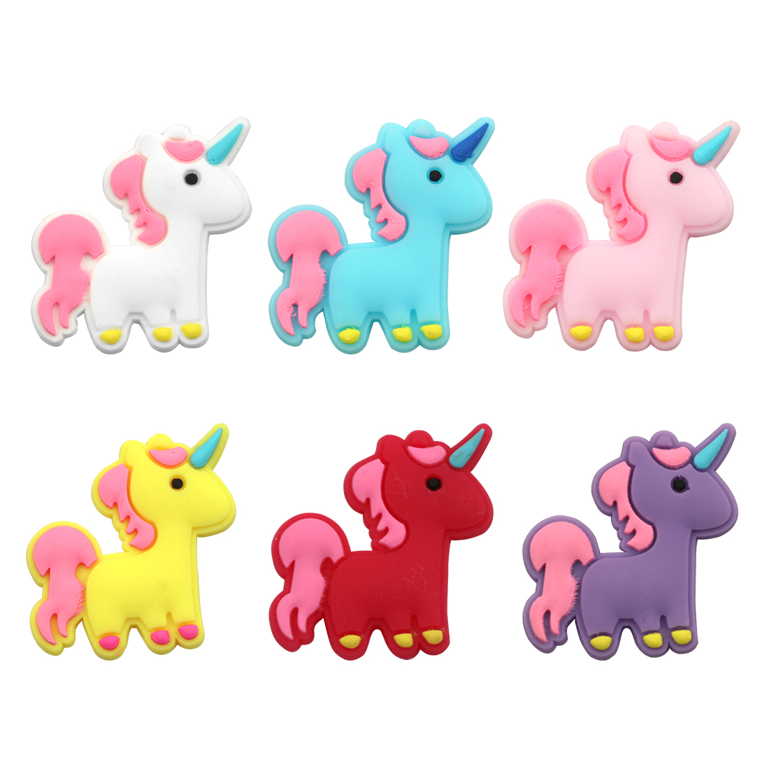 10 Pcs/lot Unicorn Pvc Diy Hair Accessories New Design Cute Soft Rubber Animal Pattern Bright Color Children Handmade Hair Claws Exquisite Traditional Embroidery Art
