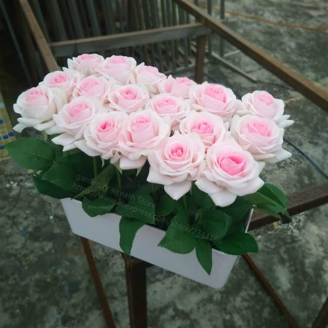 Aliexpress buy potted real touch pink roses arrangement faux potted real touch pink roses arrangement faux flower bonsai for home wedding table decoration centrepiece mightylinksfo