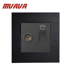 MVAVA 86*90MM RJ11 Telephone Plus TV Socket Black Wooden Series Panel 110-250V And Television Free Shipping