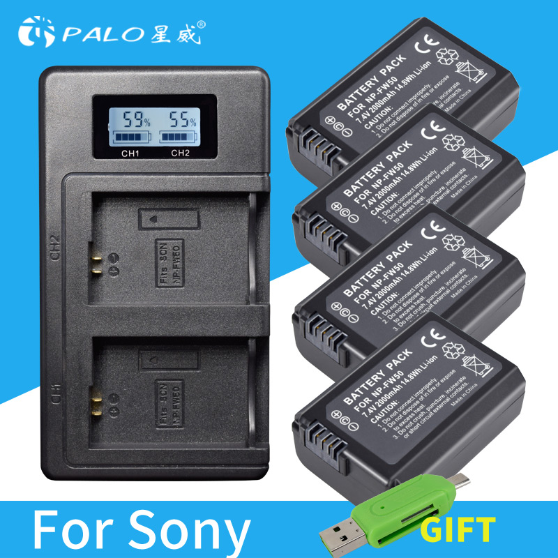 4pc NP-FW50 NP FW50 FW50 Battery+LCD USB Dual Charger for Sony A6000 5100 a3000 a35 A55 a7s II alpha 55 alpha 7 A72 A7R Nex7 NE 2x 1500mah np fw50 np fw50 digital camera battery charger for sony alpha 7 a7 7r a7r 7s a7s a3000 a5000 a6000 nex 5n 5c a55