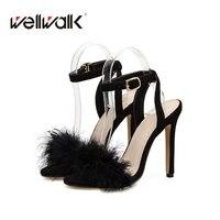 סנדל עקב נשים נעלי גברת אופנה פו פרווה סקסית מתוק עדין רצועת קרסול העקב נעליים עקב גבוהות שמלה מזדמן המפלגה משרד