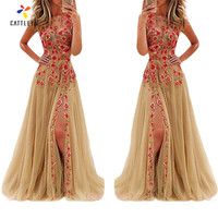 Women Floral Stylish Sleeveless Dress New Style Ruffled Print Long Dresses Feminine Floor Length Lace Embroidery