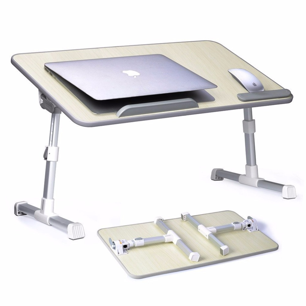 Adjustable Laptop Bed Table Free Lift Portable Lapdesk Standing Desk Foldable Sofa Breakfast Tray Notebook Stand