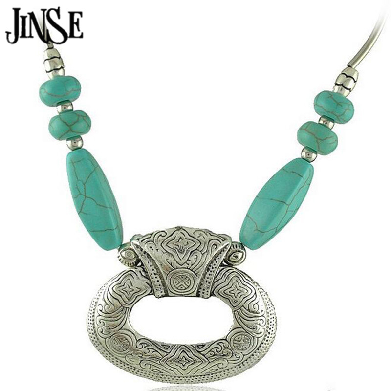 52b60ba872da Jinse Gypsy tibetanos redondos piedra vintage Pendant choker collar de  cadena joyería regalo del Día de San Valentín BLS071
