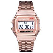 Дропшиппинг светодиодный цифровые парные часы мужские женские деловые часы ремешок из нержавеющей стали ультра тонкие наручные часы с будильником