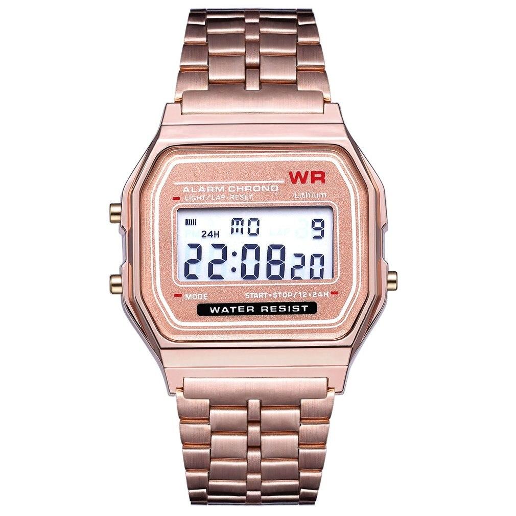 Dropshipping LED Digital Couple Watch Men Women's Business Watch Stainless Steel Strap Ultra Thin Alarm Wrist Watch
