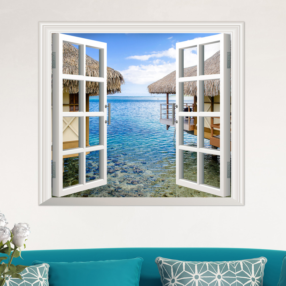 online get cheap exotic furniture aliexpress com alibaba group 4 styles removable beach sea window scenery wall sticker3d home decor decals mural decal exotic beach view drop shipping wl11