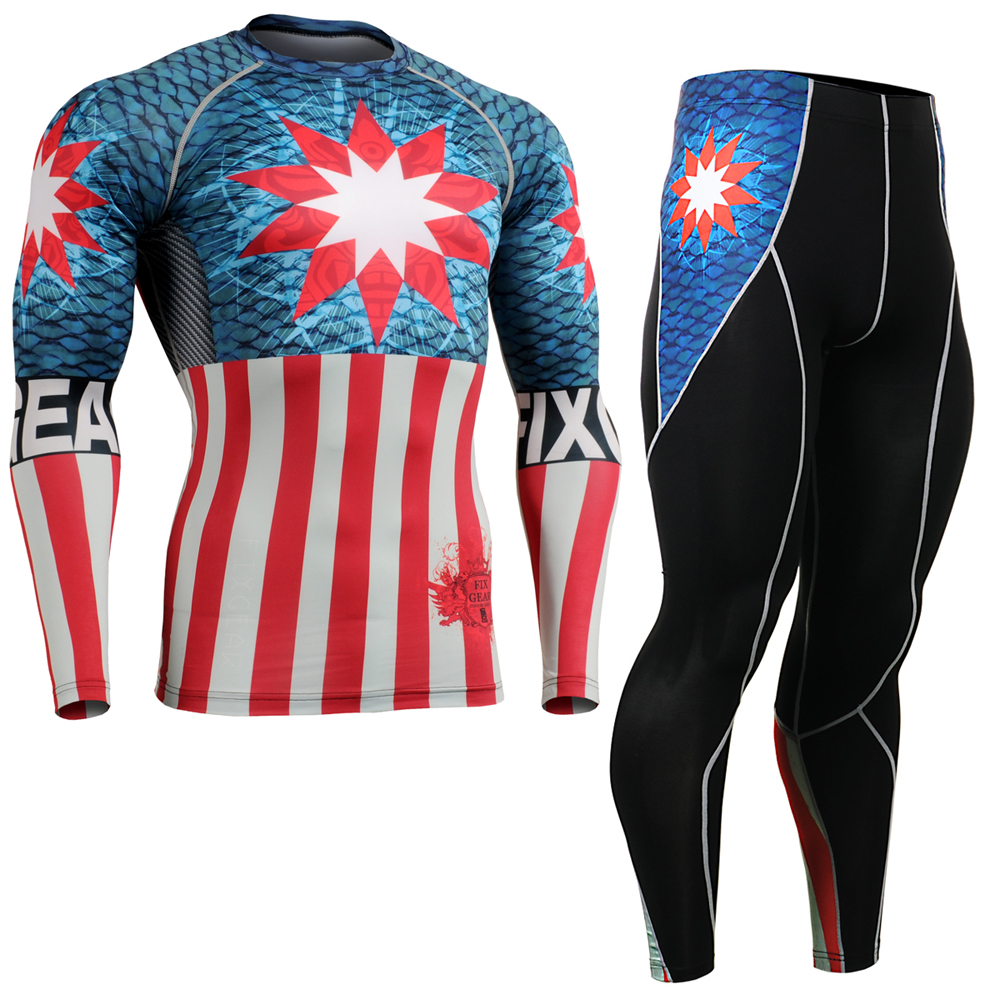 Men Comresssion Shirt Cycling Running Suit Skin-Tight Gym Training MMA Workout Fitness Wear Yoga Clothing Set CFL/P2L-B37 men fitness mma fight shorts