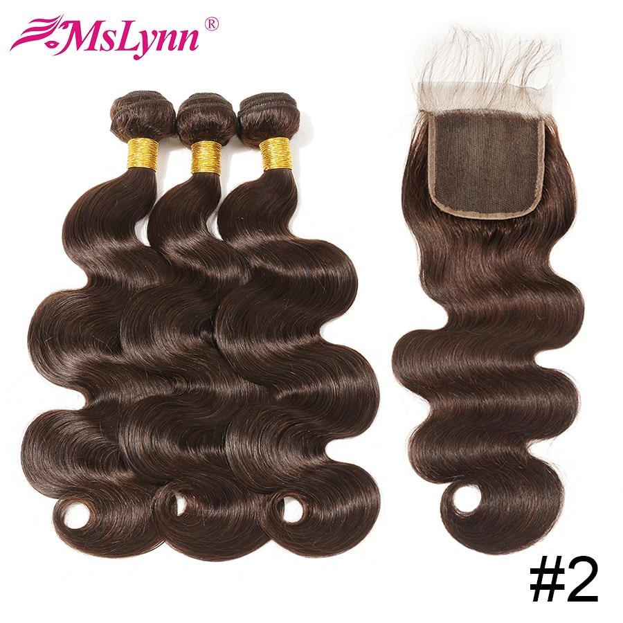Body Wave Bundles With Closure Peruvian Hair Bundles With Closure Human Hair Weave Bundles Dark Brown