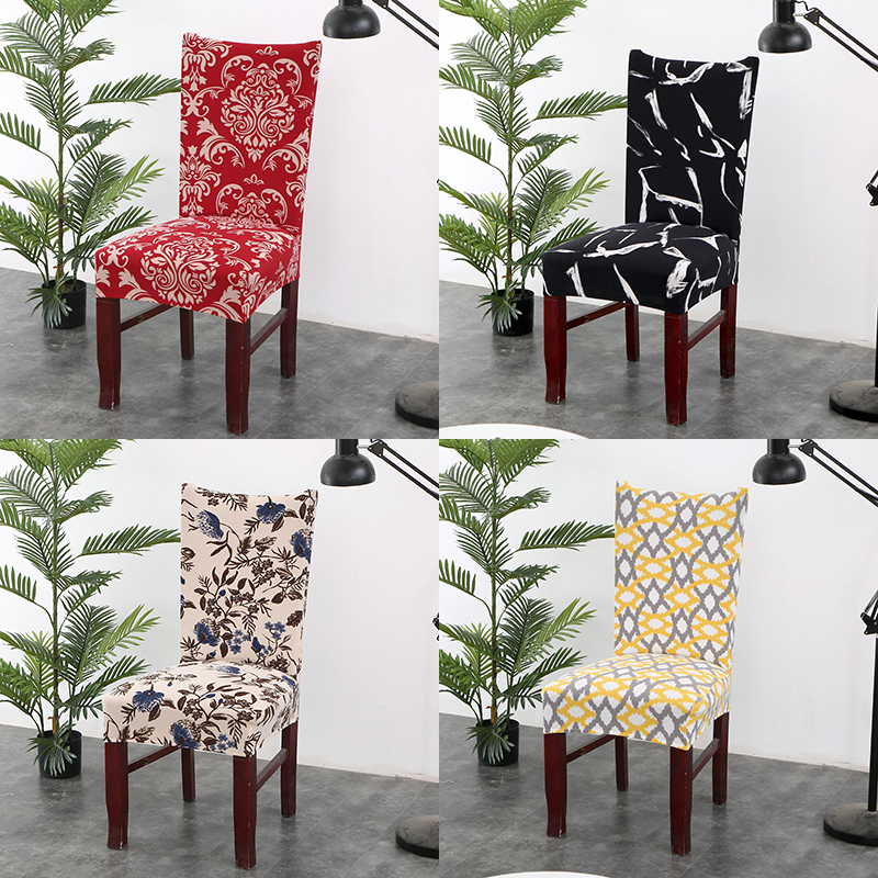 Spandex Polyester Stretch Universal Dining Room Chair Cover Geometric Floral Printing Protector Chair Seat Cover For Office