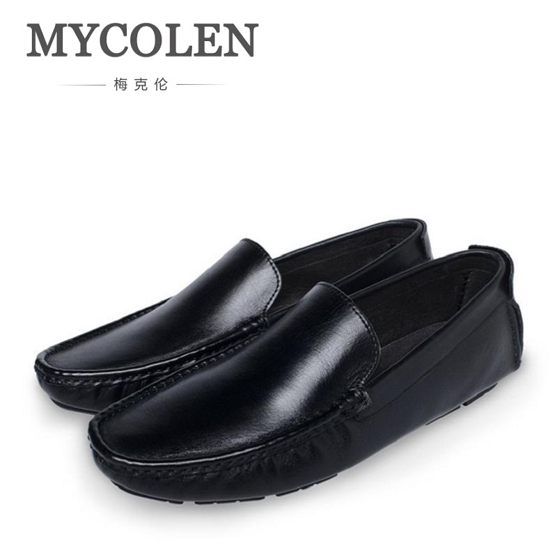 MYCOLEN Genuine Leather Shoes Men Breathable Casual Shoes Men Shoes Loafers Soft Comfortable Lazy Shoes Flats Male Chaussures bimuduiyu new england style men s carrefour flat casual shoes minimalist breathable soft leisure men lazy drivng walking loafer