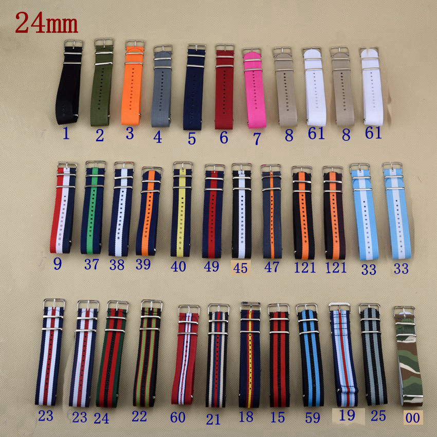 MR NENG Brand New style Nato Strap 24mm Watchband Silver Buckle Army Military Nylon Watch Band Bracelet For Watch Bracelet 24 MM new high quality watchband 24mm nato multicolor 4 ring nylon military diver s watch strap