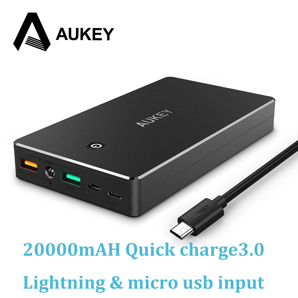 AUKEY Quick Charge 3.0 Power Bank 20000mAh Fast Charging Dual USB Portable External Battery for iPhone Samsung Xiaomi Powerbank
