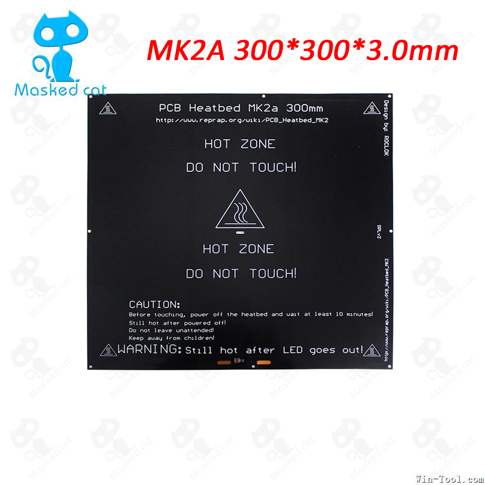 3D Printer MK2A 300 x 300 x 3.0mm RepRap RAMPS 1.4 PCB Aluminum Heatbed Hot Plate For Mendel For 3D Printer parts 3d printer parts heat bed mk2a 300 300 2 0mm 24v400w reprap ramps 1 4 pcb heat bed hot plate for
