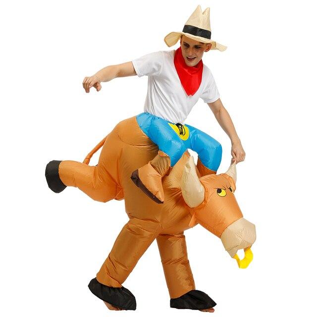 Disfraces Adultos Bambino di Halloween Cosplay Giro un Toro Gonfiabile Costume di Fantasia Costumi per Gli Uomini del Ragazzo Abbigliamento