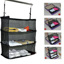 New Portable Luggage System Hanging Travel Shelves 3 Layer Storage Bag Organizer Hot Brief Black Travel Fold Storage Holders(China)
