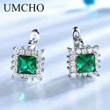 Купить с кэшбэком UMCHO Luxury 925 Sterling Silver Jewelry Created Emerald Birthstone Classic Clip Earrings For Women Elegant Birthday Gifts New