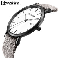 aa609181eac422 Casual Quartz Watches Men S Fabric Ultra Thin Simple Analog Japan Wrist  Watches Male Lover S