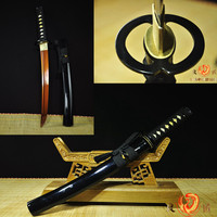 Hand Made Japanese Battle ready 9260spring steel red blade katana sword Tanto full tang sharp blade