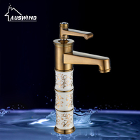 European Antique Kitchen Faucets Brass Polished Gold Bathroom Faucet Classic Ceramic Single Hole Sink Taps Hot